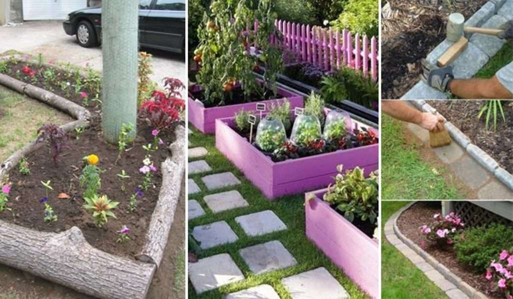 15 awesome diy garden bed edging ideas for Cheap diy garden edging
