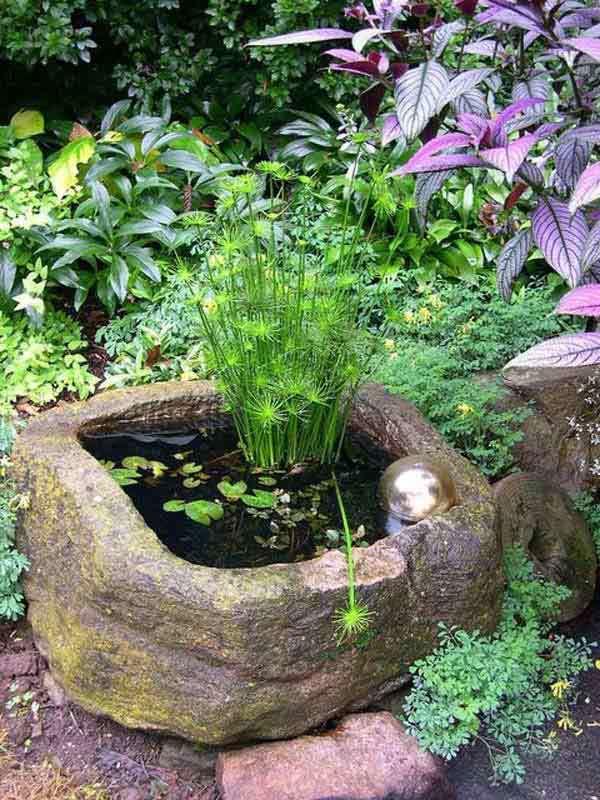 Natural stone mini pond