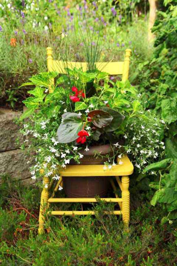 Old Painted Chair Flower Pot