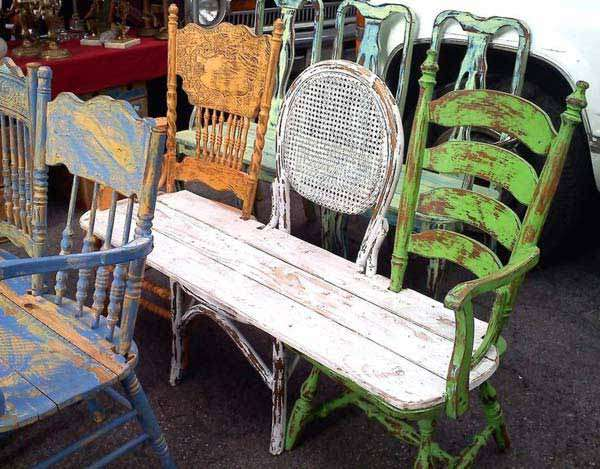 Old chair to awesome outdoor bench