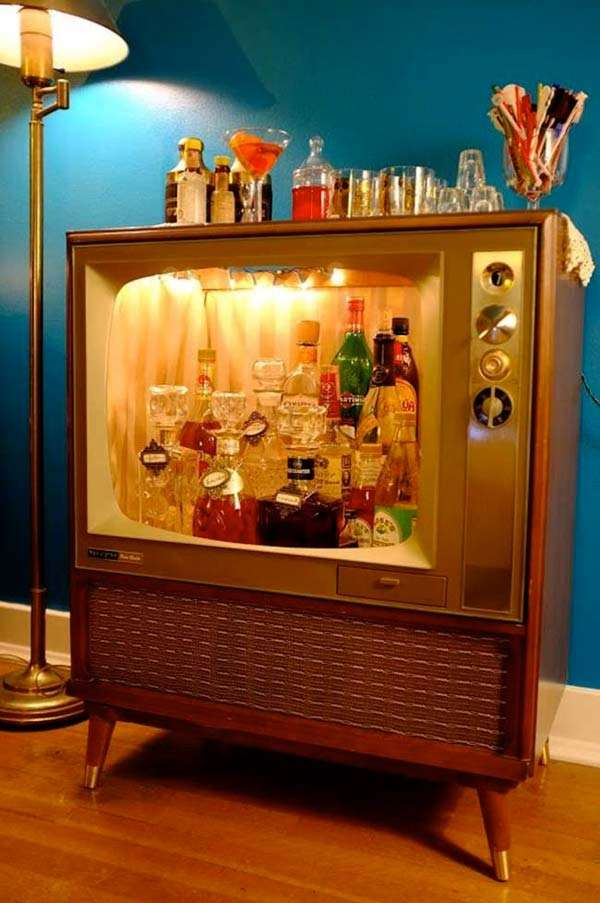Old television reused as a bar cart