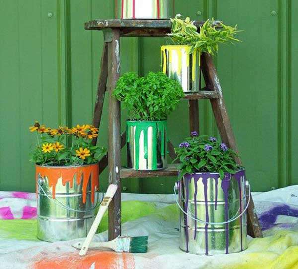 Paint Containters used as flower pots