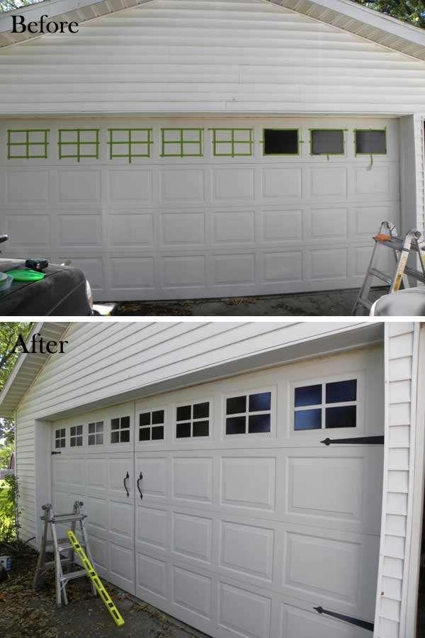 Paint windows on the garage door.