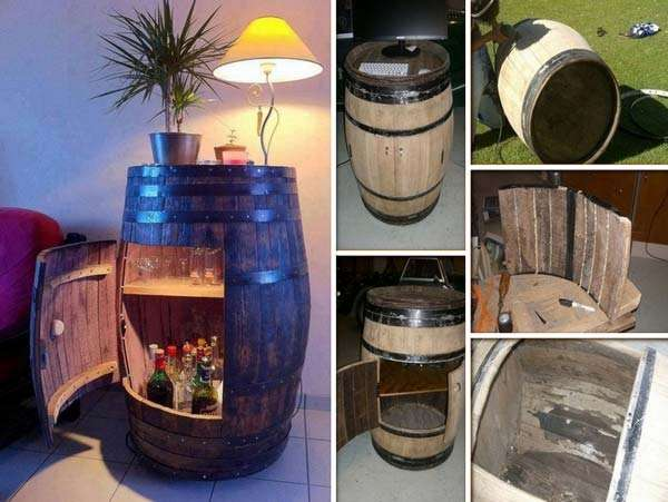 Recycled Wine Barrel Bar