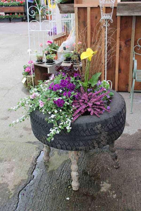 Repurposed Tire Planter