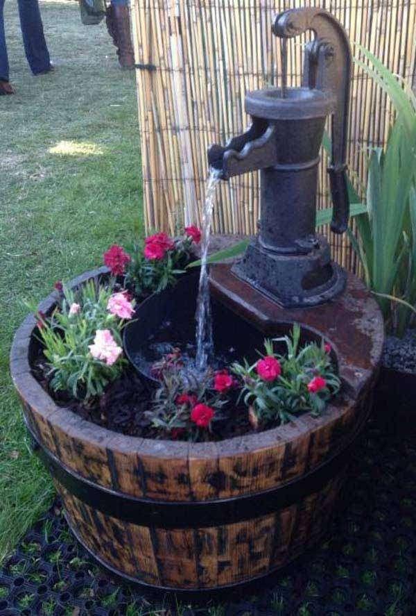 Rustic Barrel used as a mini pond