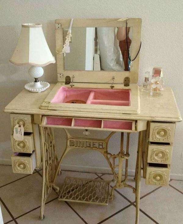 Sewing machine cabinet  repurposed into dressing table vanity from
