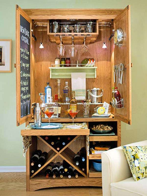 Storage Cabinet Makeover as a Bar