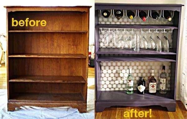 Turn a bookcase into a bar