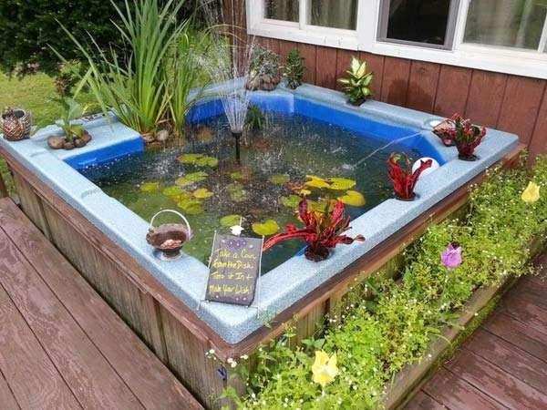 15 awesome small backyard aquarium diy ideas for Bathtub fish pond