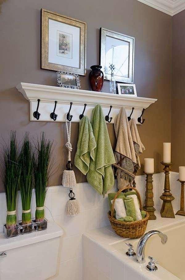 Use coat hooks as a towel rack