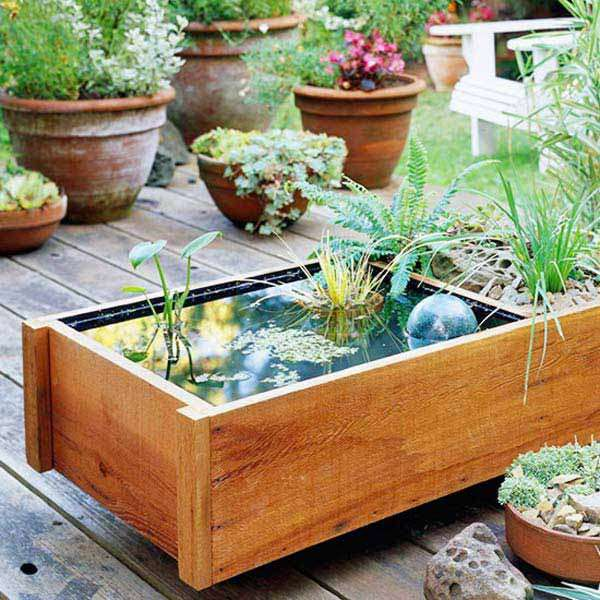 Wooden Pot used as pond