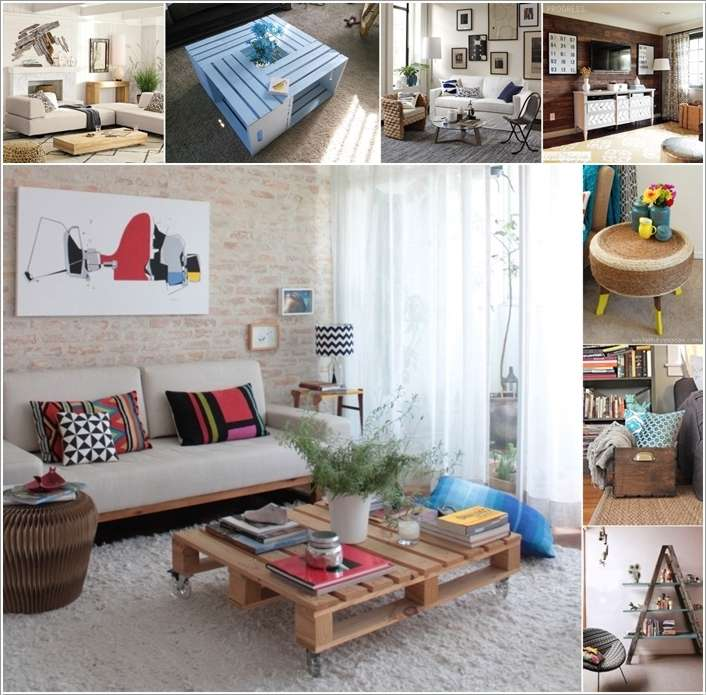 15 living room projects made from recycled materials for Interior decoration with waste material