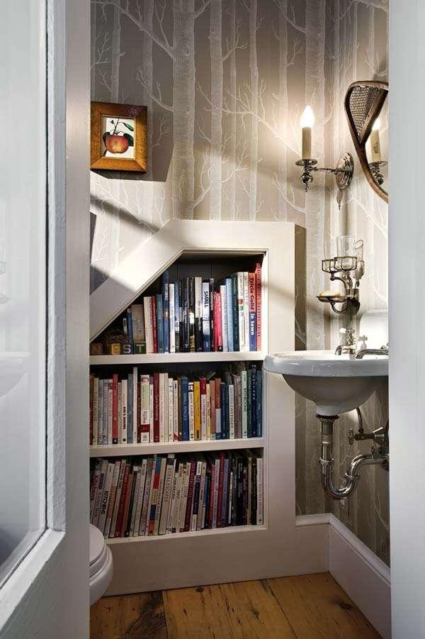 built-in bookcase in bathroom