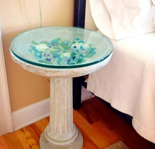 16 cool and creative diy home decor ideas with sea and for Bathroom table top designs