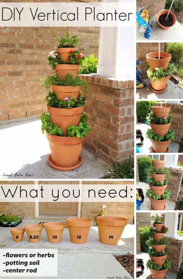Clay Pot Vertical Planter