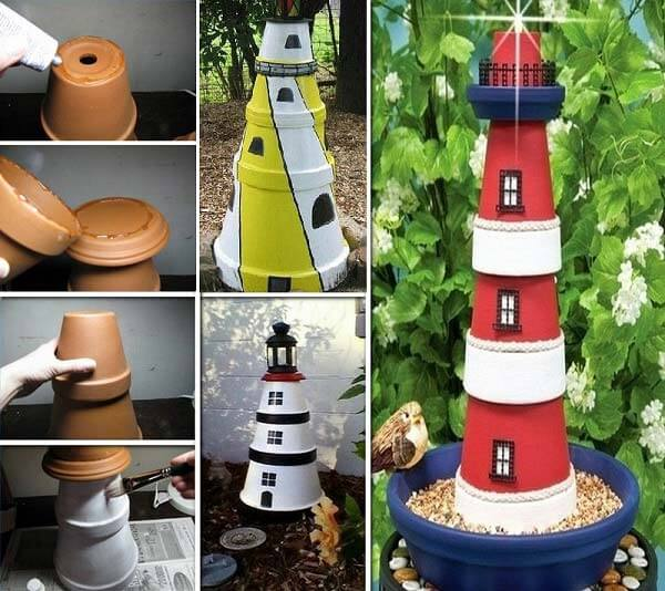 Clay pot light houses