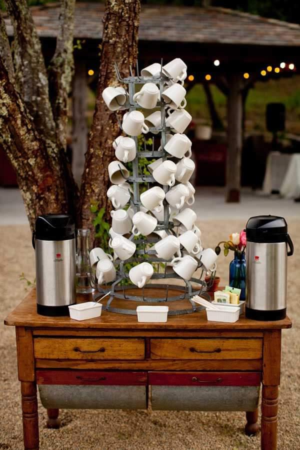 Coffee mugs tower
