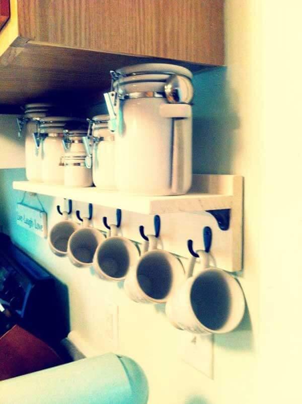 Custom made shelf with hooks & 15 Insanely Cool DIY Coffee Storage Ideas