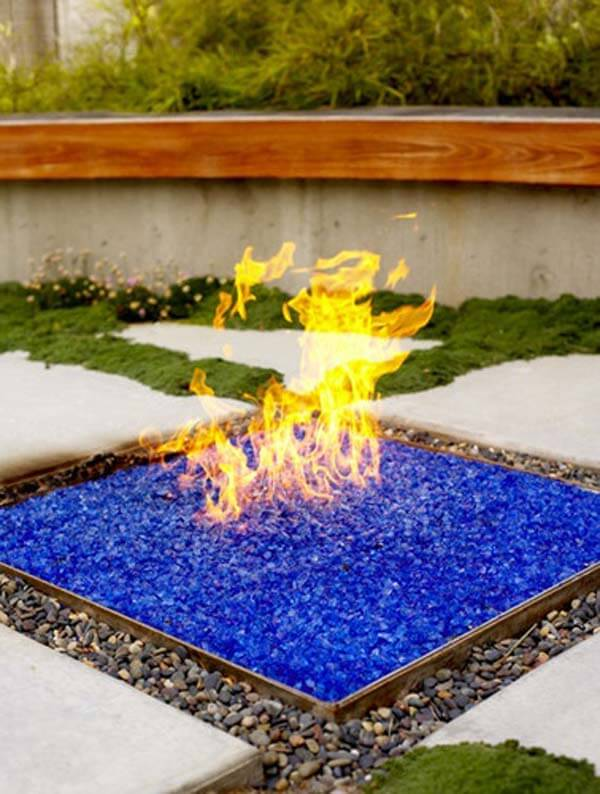 Fire Pit with Colored Glass