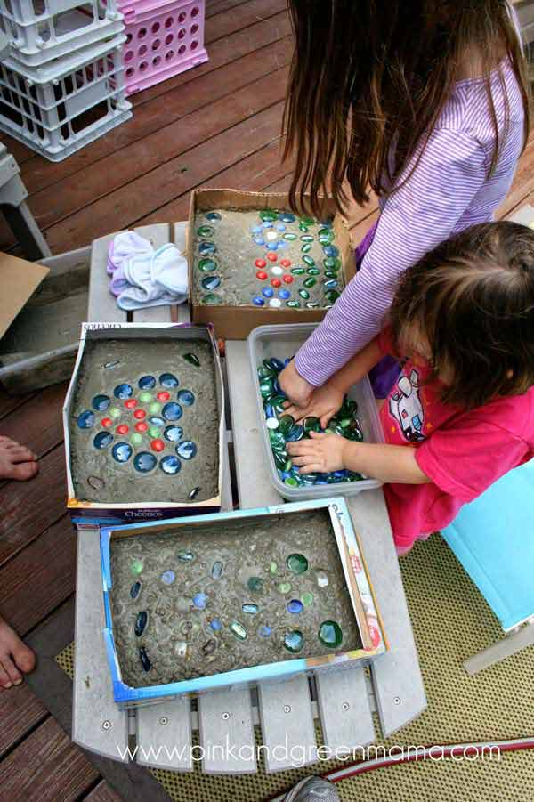 Garden stepping stones add colored glass