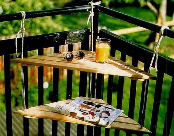 Hanging table for tiny balcony