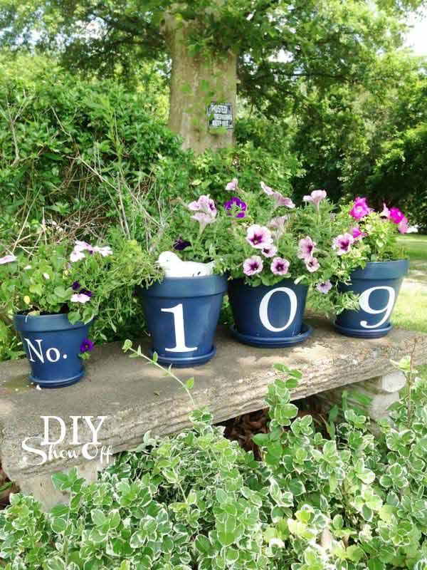 .House Number Flower Pots