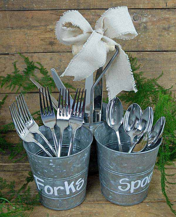 Label forks, spoons, knives with a chalk marker