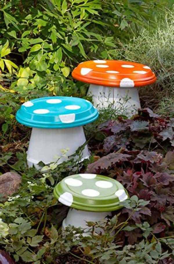 Mushroom made with terra cotta pots