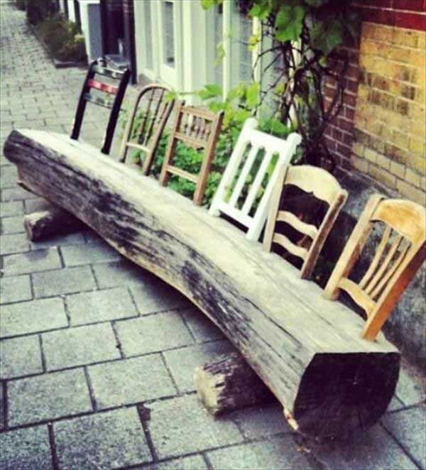.Recycle old chair backs into a log bench