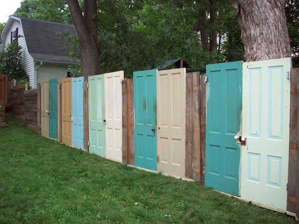 Reuse old doors to use as a fence