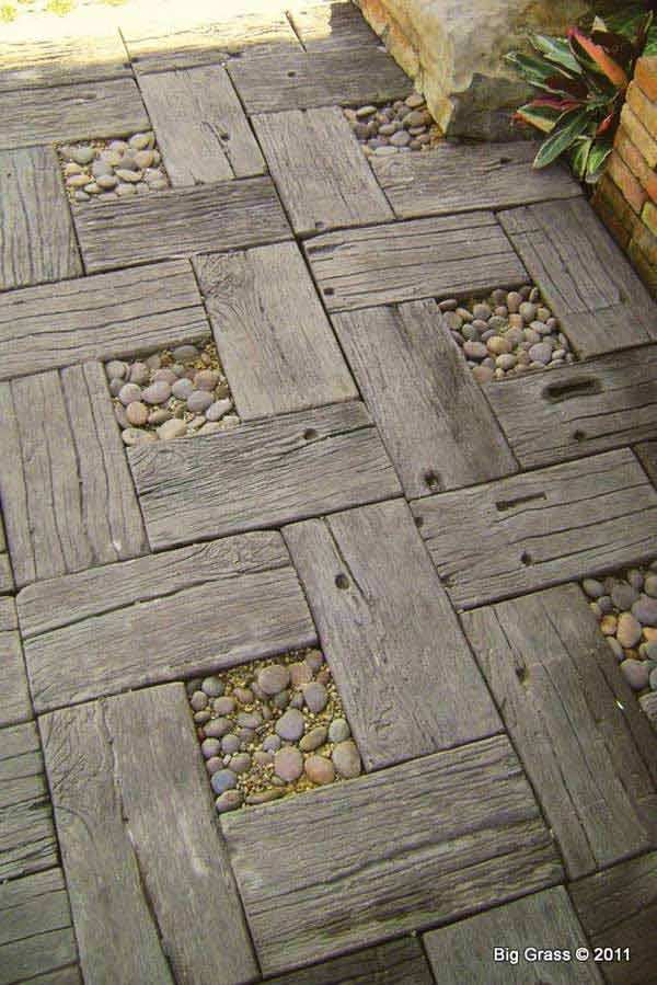 Salvaged wood and pebbles path