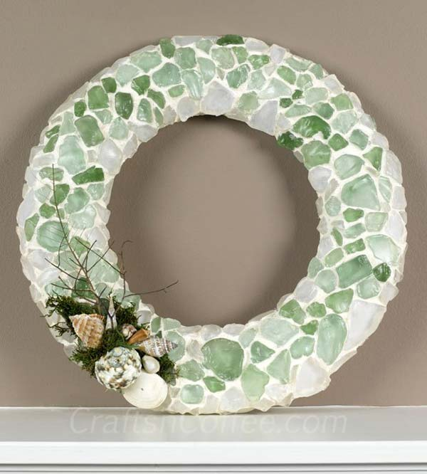Sea Glass Mosaic Wreath