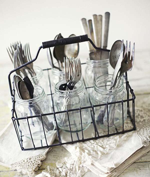 Store utensils in mason jars