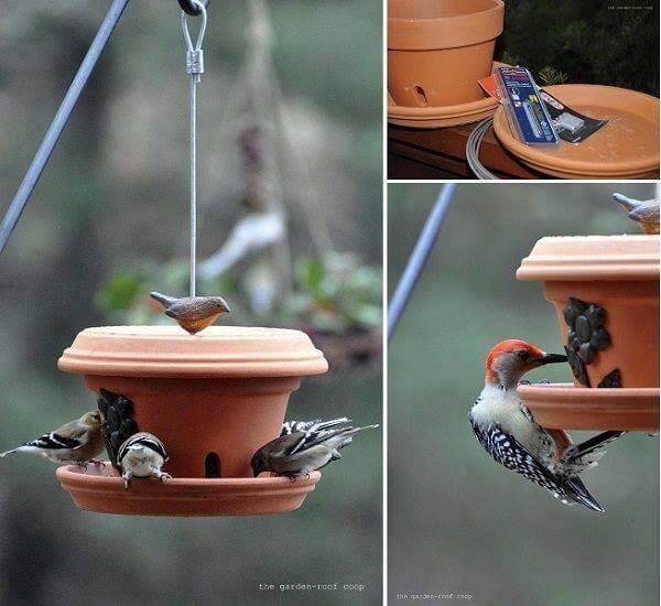 Terracotta pot bird feeder