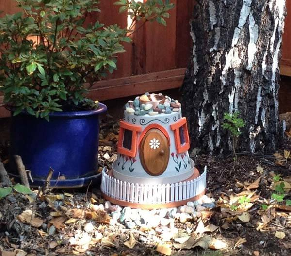 clay pot to as a fairy or Gnome house