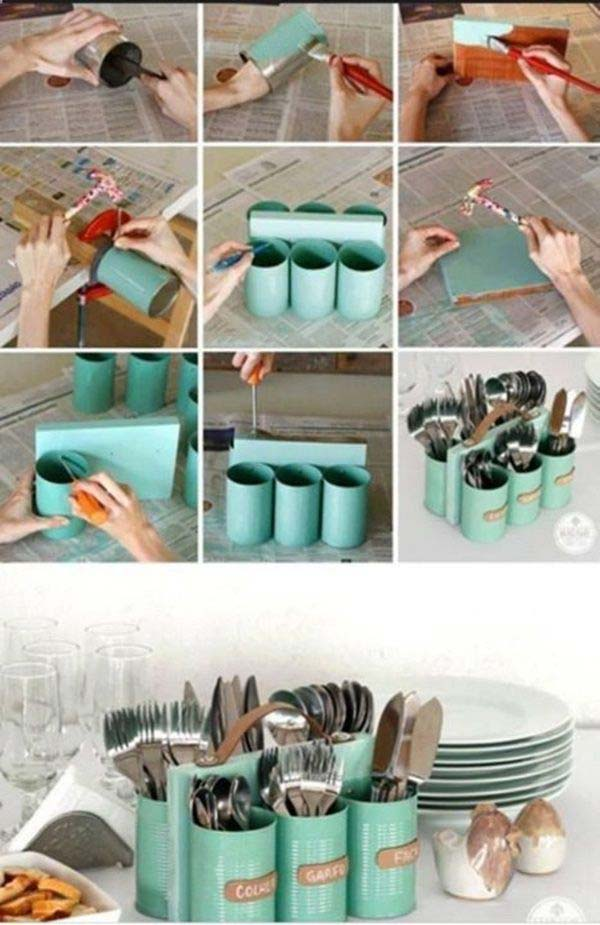 tins into a decorative holder for cutlery