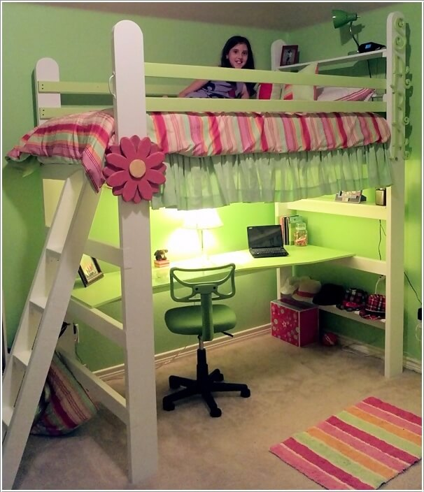 10 amazing diy loft bed designs for your kids 39 room for Study bed plans
