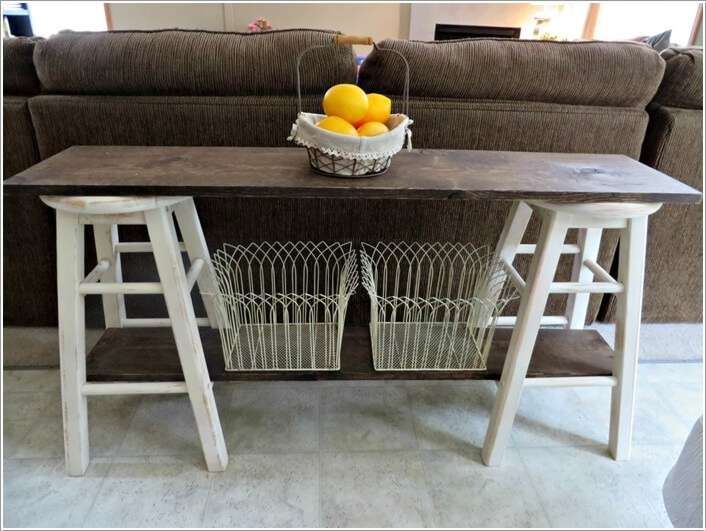 Console Table With Stools ~ Clever ideas to recycle old bar stools interior