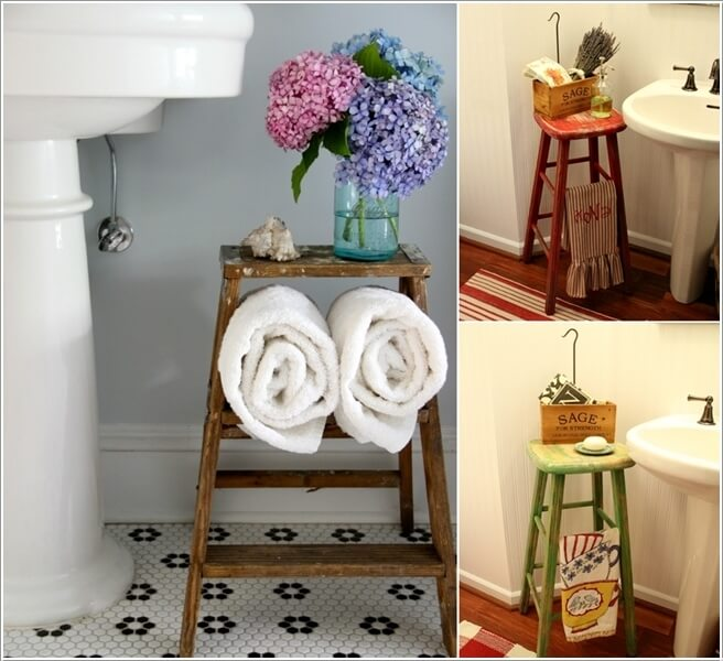 15 Clever Ideas to Recycle Old Bar Stools on bathroom wash basin designs, bathroom cabinet designs, bathroom mirror designs, bathroom with vanity designs, bathroom shelf designs, bathroom tub designs,
