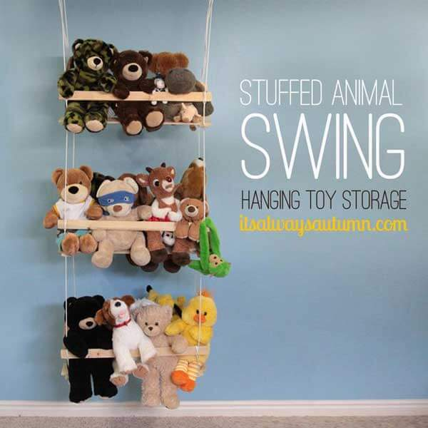A stuffed animal swing is an equally adorable idea