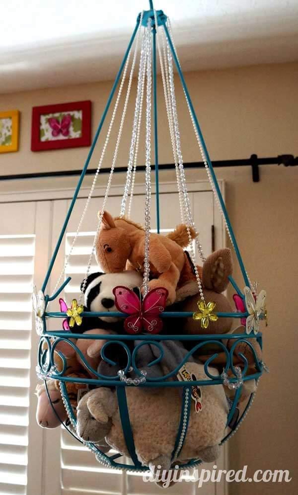 Garden hanging planter turned into stuffed animal storage