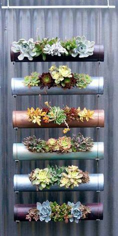PVC pipes planter with succulents