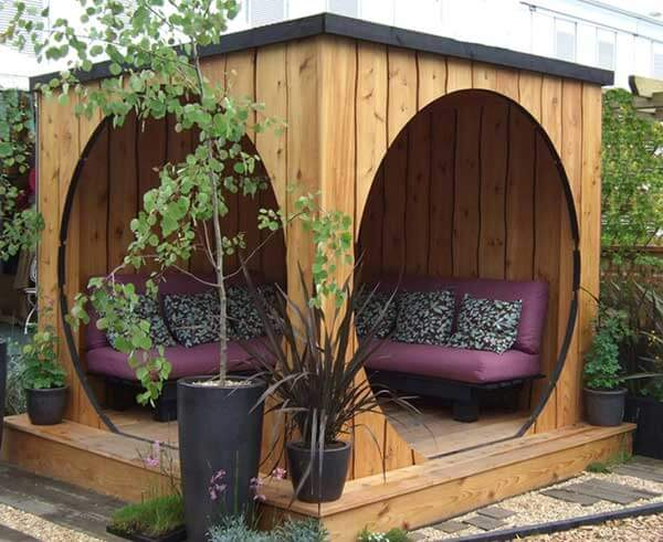Patio with a Wooden Cubicle