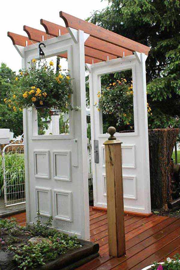 Recycled Doors to patio trellis