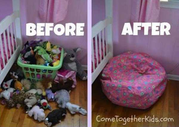 15 smart and easy diy ways to organize kid 39 s stuffed toys. Black Bedroom Furniture Sets. Home Design Ideas