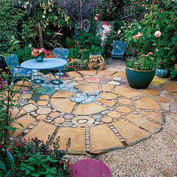 patio of squares and rounds
