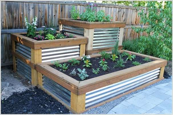 15 stylish raised bed ideas for no grass outdoor areas for Corrugated metal raised garden beds