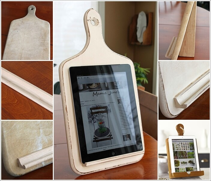 make a kitchen tablet holder from an old chopping board