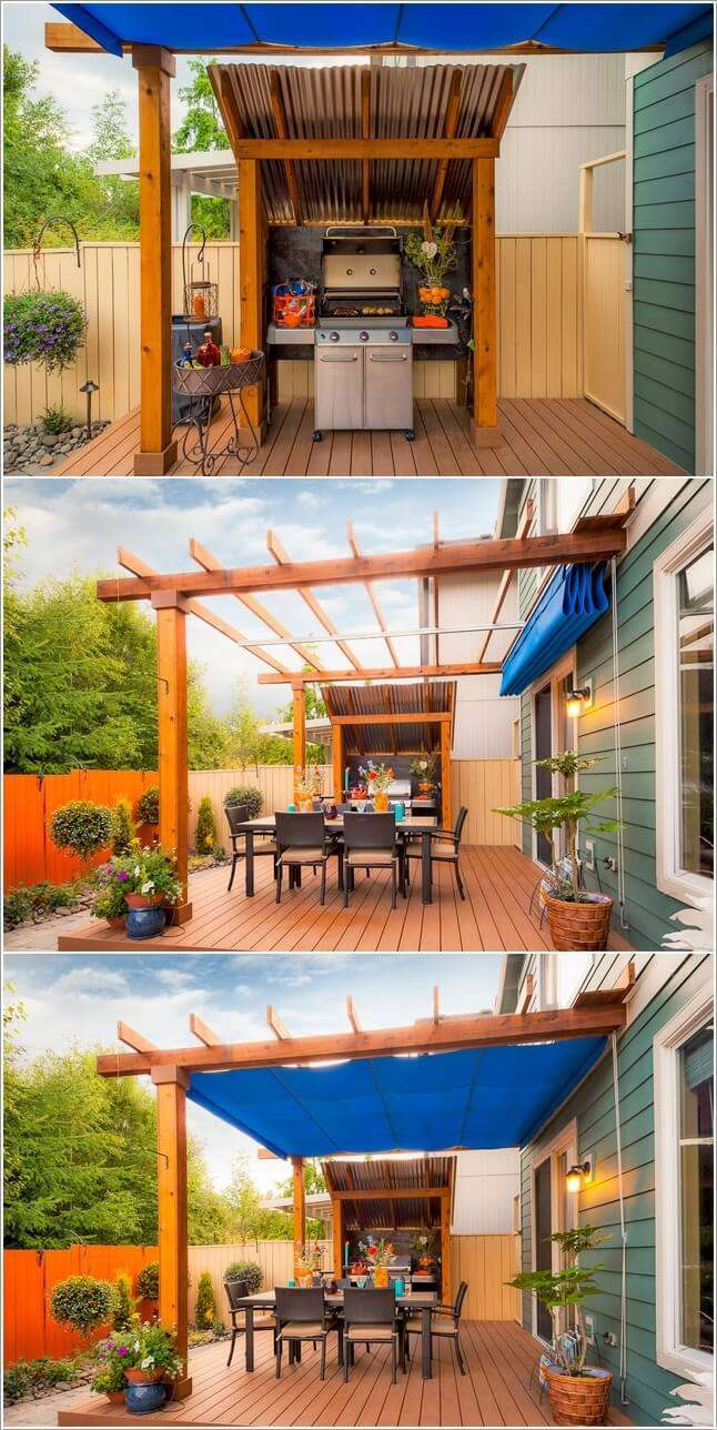 15 cool ways to design a barbecue grill area for Outdoor patio cooking area